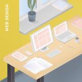 Lämplig rengöringsdukdesign för olika apparater Färgrik vektorillustration med svars- design på datoren, minnestavla stock illustrationer