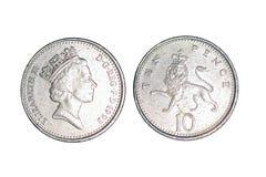 Länder ` alte Münzen, 10 Pennys stockfotografie