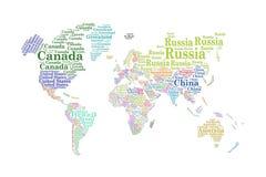 Länder av världen, ordmoln royaltyfri illustrationer