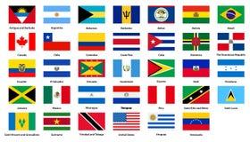 Länder för flaggor allra av de amerikanska kontinenterna vektor illustrationer