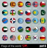 Länder för flaggor allra med skuggor Arkivfoton