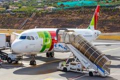 Länder för TAP Portugal flygbuss A319-111 på Funchal Cristiano Ronaldo Airport Royaltyfri Bild