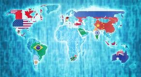 Länder G20 på världskarta Arkivfoton