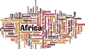 Länder i Afrika ordmoln stock illustrationer