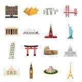 Länder ställde in symboler i tecknad filmstil Stor samling av illustrationen för materiel för landsvektorsymbol Arkivfoton
