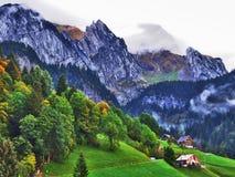 Ländliche Bauernhöfe und die traditionelle Architektur von Wildhaus in Thur River Valley lizenzfreies stockbild