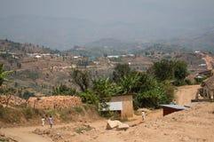 Ländliche Dörfer mit Hügel-Ansichten, Ruanda Lizenzfreies Stockbild