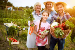 Ländliche Familie zufrieden gewesen mit Gemüseprodukten vom Garten stockbilder