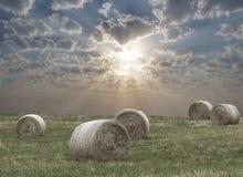 Ländliche Felder mit geerntetem Heu Lizenzfreies Stockfoto