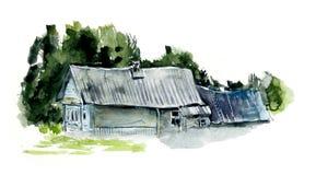 Ländliche Häuser dorf Gezeichnete Illustrationen des Aquarells Hand vektor abbildung
