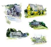 Ländliche Häuser dorf Gezeichnete Illustrationen des Aquarells Hand lizenzfreie abbildung