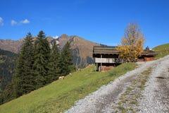 Ländliche Herbstszene nahe Gstaad Lizenzfreie Stockfotografie