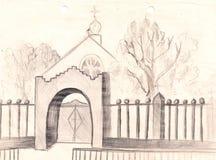 Ländliche Kirchenskizze handgemalte Bleistift-Zeichnung Stockbild