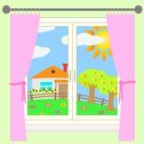 Ländliche Landschaft außerhalb des Fensters. Lizenzfreies Stockfoto