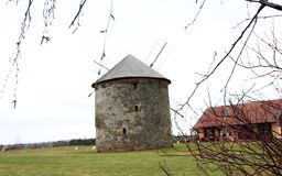 Ländliche Landschaft der Windmühle Lizenzfreies Stockbild