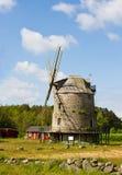 Ländliche Landschaft der Windmühle Stockfotos