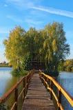 Ländliche Landschaft des alten verlassenen Hauses mitten in dem See Herbstmorgenlandschaft Dorf von altem Solotvin stockbild