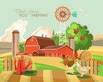 Ländliche Landschaft des Bauernhofes Landwirtschafts-Vektor-Illustration Bunte Landschaft Plakat mit Retro- Dorf und Bauernhof vektor abbildung