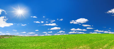 Ländliche Landschaft des Frühlinges mit Feld und blauem Himmel, ein Panorama Stockfotografie