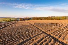 Ländliche Landschaft des Frühlinges mit Furchen auf dem gepflogenen Gebiet Stockfotografie