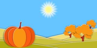 Ländliche Landschaft des Herbstes mit großen Kürbis- und Obstbäumen Papierschnitt formt und überlagert als Landschaftsdesign Stock Abbildung