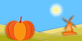 Ländliche Landschaft des Herbstes mit Windmühle und großem Kürbis Papierschnitt formt und überlagert als Landschaftsdesign Lizenzfreie Abbildung