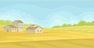 Ländliche Landschaft des Sommers mit Dorfhäusern, Feld mit grünem Gras, Landwirtschaft und Landwirtschaft von Konzeptvektor Illus stock abbildung