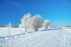 Ländliche Landschaft des Winters mit Straße, Wald und blauem Himmel Stockfotografie