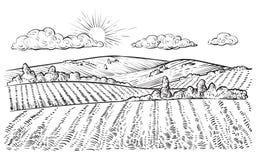 Ländliche Landschaft, gezeichnete Illustration der Vektorweinlese Hand Stockbild