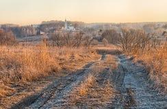 Ländliche Landschaft mit der Straße Lizenzfreies Stockbild