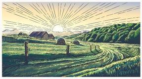 Ländliche Landschaft mit Dorf in der Stichart stock abbildung