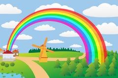 Ländliche Landschaft mit einem Regenbogen. Stockbild