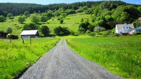 Ländliche Landschaft mit einer führenden Straße in der grünen Wiese lizenzfreie stockbilder