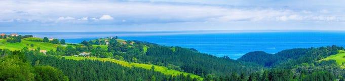 Ländliche Landschaft mit einer grünen Wiese und einem Wald nahe dem Meer an s Lizenzfreie Stockbilder