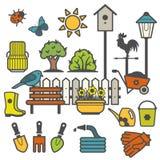 Ländliche Landschaft mit Gartenarbeitkonzept Lizenzfreie Stockbilder
