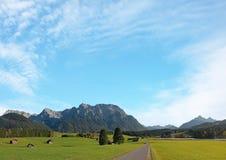 Ländliche Landschaft mit Hütten nähern sich mittenwald, Hintergrund des blauen Himmels Stockbild
