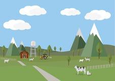 Ländliche Landschaft mit Kühen und Bauernhofhintergrund der flachen Art Stockfotografie