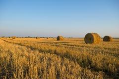 Ländliche Landschaft mit Strohrollen Autumn Landscape Lizenzfreie Stockfotos