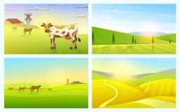 Ländliche Landschaft oder Wiese Bauernhoflandwirtschaft Auch im corel abgehobenen Betrag Plakat mit Landschaft, Retro- Dorf zu In stock abbildung