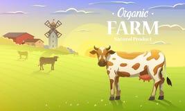 Ländliche Landschaft und Kühe Bauernhoflandwirtschaft Auch im corel abgehobenen Betrag Plakat mit Wiese, Landschaft, Retro- Dorf  vektor abbildung