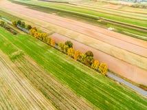 Ländliche Landschaft von einer Vogel ` s Augenansicht Bebaute Felder im Herbst Straße durch die Felder Lizenzfreies Stockfoto