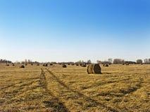 Ländliche Landschaftsfeld-Wiese mit Sonnenaufgang Hay Bales After Harvest Ins Sunny Evening At Sunset Or im Spätsommer Lizenzfreie Stockfotografie
