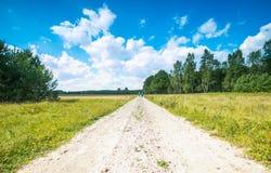 Ländliche sandige Straßennahfelder des Landes Stockbilder
