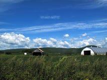 Ländliche Scheunen gegen einen Hintergrund des blauen Himmels mit rollenden weißen Wolken stockbild