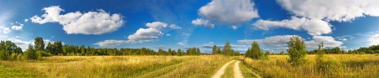 Ländliche Sommerlandschaft des Panoramas mit einer Straße, einem Feld und einem Wald Lizenzfreie Stockfotos
