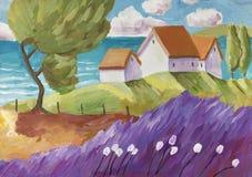 Ländliche Szene der Fantasie mit einem kleinen Dorf vektor abbildung
