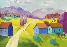Ländliche Szene der Fantasie mit einem kleinen Dorf lizenzfreie abbildung