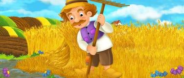Ländliche Szene der Karikatur mit dem Landwirtmann, der während der Arbeit über das Feld stillsteht lizenzfreie abbildung