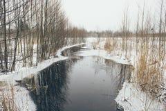 Ländliche Szene des Winters mit Nebel und gefrorenem Flussweinleseeffekt Stockbilder