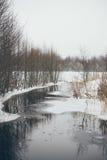 Ländliche Szene des Winters mit Nebel und gefrorenem Flussweinleseeffekt Stockbild